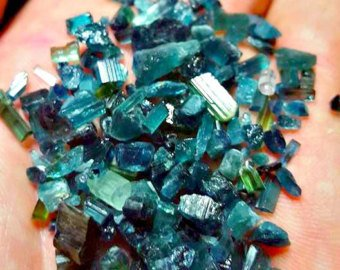 1 Gram of Light and Dark Blue/ Green, Indicolite Tourmaline Crystals For Wire Wrapping, Orgone and Jewelry/ Crafts or Collection ()