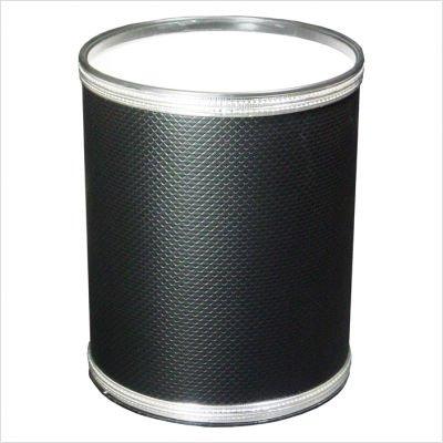 Budget Series Round Vinyl Wastebasket White Silver Trim ()