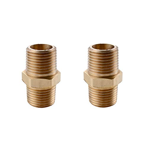 (KES Lead-Free Faucet Supply Line Adapter 1/2-Inch NPT Male Converter 2 Pack, SOLID Brass, PJ20-P2)