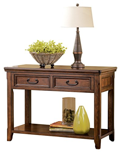 Ashley Furniture Signature Design - Woodboro Sofa Table - Entertainment Console - Rectangular - Dark Brown - SOFA TABLE: Brimming with vintage-inspired character and modern day amenities. Antiqued hardware and the oil-rubbed stain is an evergreen aesthetic you'll love in your foyer entryway or living room HANDSOMELY CRAFTED: Console table is hand-finished and made of veneers, wood and engineered wood. Designed with 2 drawers, 1 fixed shelf and dark bronze-tone hardware STYLISH STORAGE: Conveniently store keys, mail and other daily essentials in the two drawers. The lower fixed shelf is the perfect spot to set down your purse or display your favorite decor accents - living-room-furniture, living-room, console-tables - 41fRVsGugzL -