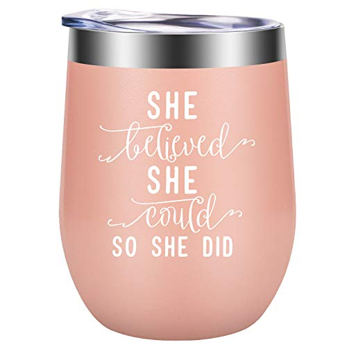 She Believed She Could so She Did | Funny Graduation, Congratulations, Inspirational, PhD, New Job, Promotion, Going Away, Birthday Gifts for Women Best Friend, Her, Girl, Employee | GSPY Wine Tumbler