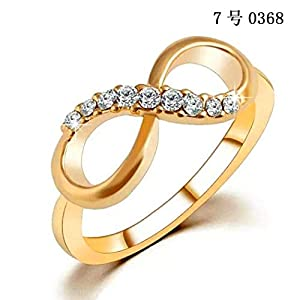 GuGio Gold Plated Forever Infinity Cubic Zirconia Ring Love & Friendship Sizes 7