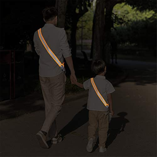 SUNFREEP New Safety Reflective Sash Adjustable Waist/Night Running,Cycling,Construction,Walking,Outdoor Breathable Lightweight Durable Versatile for Women Men Kids High Visibility Gear(Silver Orange)