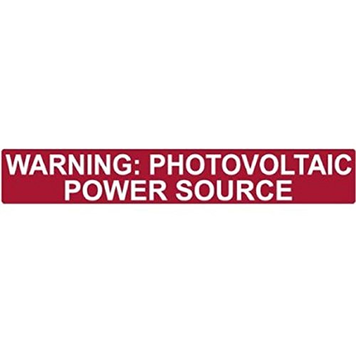 "HellermannTyton 596-00206 Pre-Printed Solar Label, 6.5"" X 1.0"", WARNING: PHOTOVOLTAIC POWER SOURCE, Red Reflective (Pack of 5)"