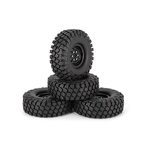 Yaoaoden 4Pcs 1.9 Inch Rubber 115mm Rubber Inch Tires Tire with Metal Wheel Rim Set for 1/10 Traxxas TRX-4 SCX10 RC4 D90 RC Crawler Car Part d29a45