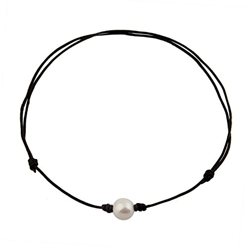 - MAOFAED Single Freshwater Pearl Choker Necklace can be Adjustable Leather Cord One Bead Jewelry for Women Handmade (White pearl1)