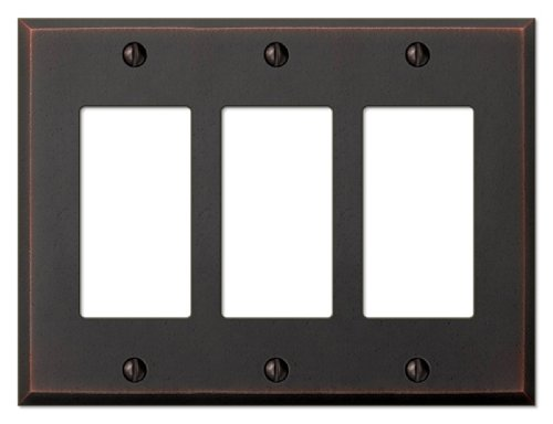 - Amerelle Manhattan Triple Rocker Cast Metal Wallplate in Aged Bronze