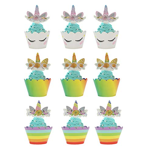 HEKOY 36pcs Cupcake Decorations Unicorn Cupcake Toppers Wrappers Party Cake Decorations Supplies for Kids Girls Birthday Baby Shower and Wedding]()