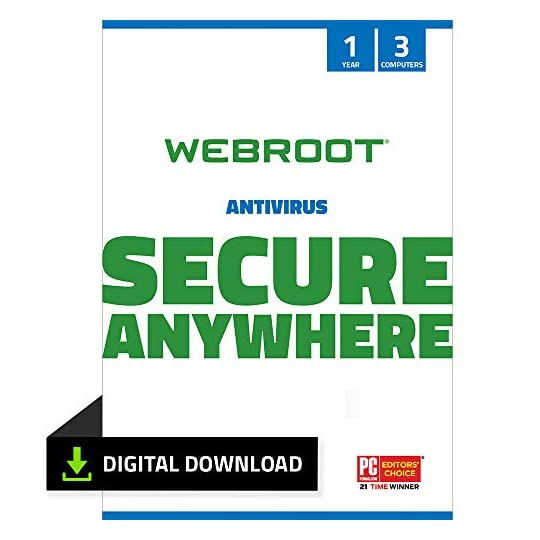 Webroot Antivirus Protection and Internet Security Software 2021 – 3 Device, 1 Year (PC Download)
