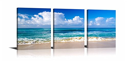 YPY Blue Ocean Sea Wall Decorations Seascape Beach Sand Canvas Material Ready to Hang for Living Room Bedroom 12x16inch - Beach Living Room