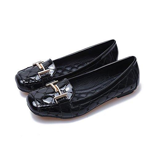Meeshine Womens Buckle Slip Op Loafer Casual Lage Flats Vierkante Teen Schoenen Black-02