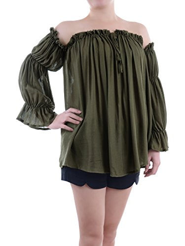 Anna-Kaci Womens Semi Sheer Boho Peasant Long Sleeve Off the Shoulder Top, Olive Green, Large