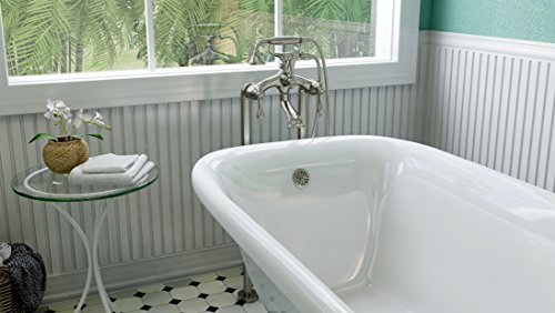 Luxury 60 inch Clawfoot Tub with Vintage Tub Design in White, includes Brushed Nickel Ball and Claw Feet and Drain, from The Laughlin Collection by Pelham & White (Image #2)