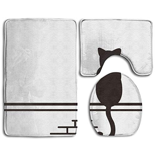 Level Cat Climber Climbing Kitty Custom Linen 3pc Non-Slip Bath Mat Set with Rectangle Pattern Solid Black Bathroom U-Shaped Contour Rug, Mat and Toilet Lid Cover New 32