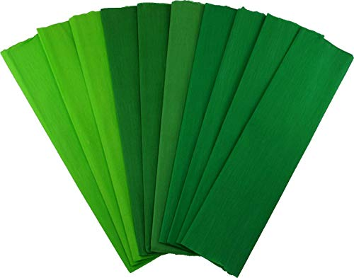 Crepe Paper Folds (10 pcs) - 20 inches Wide by 6.2 ft Long - Mexican Crepe Paper - Assorted Colors (Shades of Green)]()