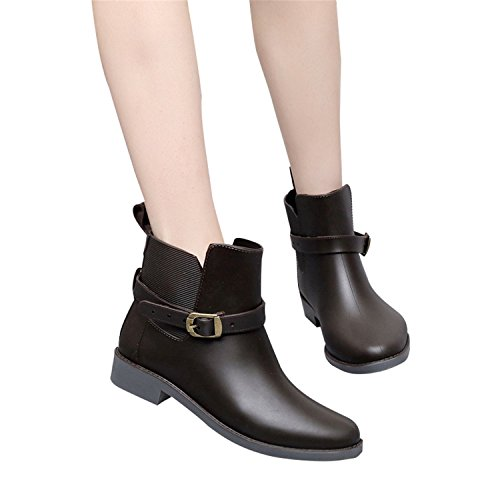 Elastic Band Solid Women Rain Boot Waterproof Women Boots Rubber Low Heel Shoes Coffee 6.5