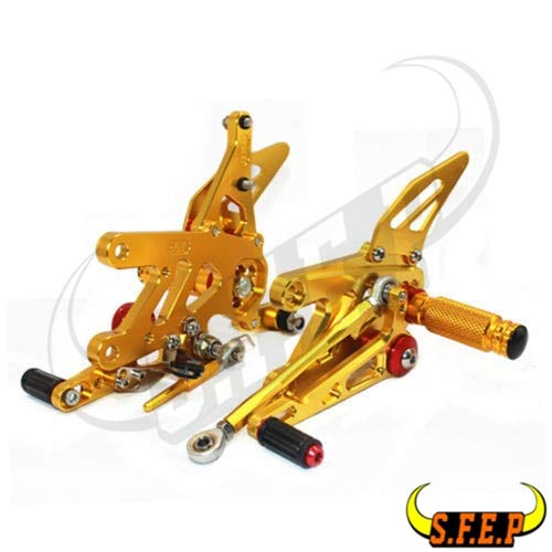 Frames & Fittings CNC Adjustable Rearset Foot Pegs Rest Pedal for Aprilia RSV4 Factory APRC ABS 2013-2014-2015-2016 - (Color: Gold)
