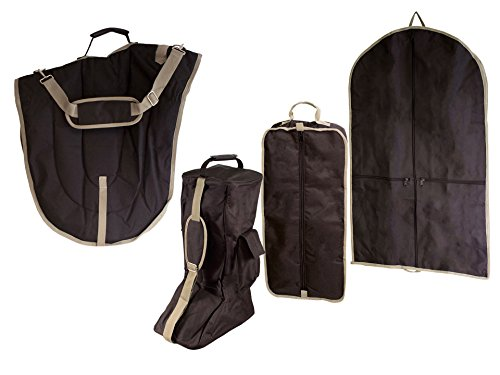 Derby Originals English Dressage Saddle with Bridle and Boot Garment Carry Bags (Set of 4), Black
