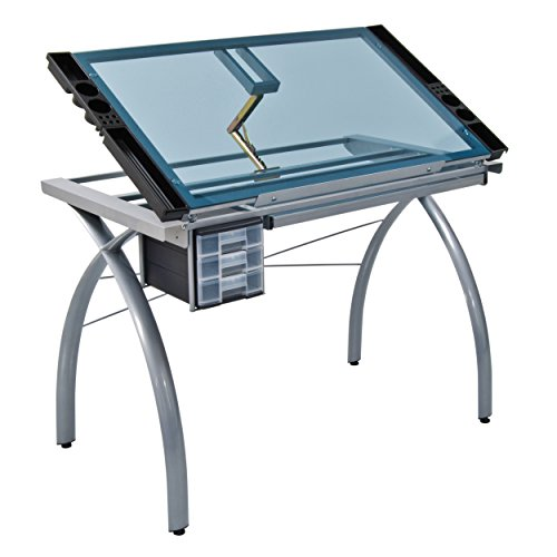 Drafting Table Surface (Studio Designs 10050 Futura Craft Station, Silver/Blue Glass)