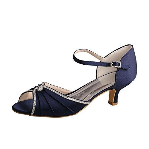 Wedopus MW033B Women's Peep Toe Mary Jane Low Heel Pleated Rhinestones Satin Wedding Prom Shoes Size 9 Navy (Pump Heel Pleated)