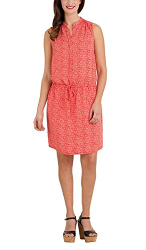 Hilary Radley Women's Sleeveless Layered Sheer Tunic Dress (6, Poppy (Drawstring Dress)