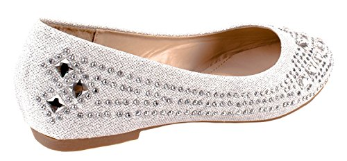 Sparkle Women's 25 Silver Forever Embellished Flat Link Dress Ballet Metallic Bead Crystal Eq7AC7