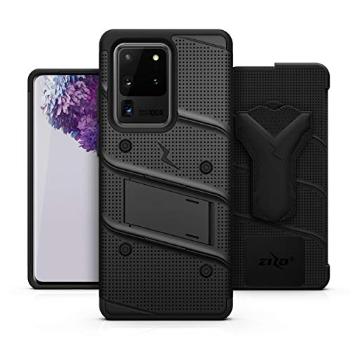ZIZO Bolt Series for Galaxy S20 Ultra Case with Kickstand Holster Lanyard - Black