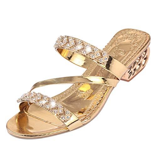 Women's Rhinestone Heeled Sandals Open Toe Slip On Crystal Low Block Heels Fashion Pumps Sandal Gold