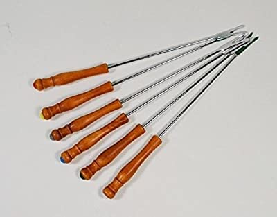 Chef's 1st Choice Stainless Steel Meat Fork for Fondue&barbecue, Wooden Handle to Protect Your Hands, Each Fork Has a Special Color to Recognize . Set of 6