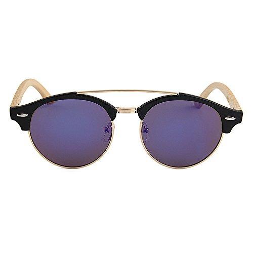 bambou UV femmes Bleu soleil Convient pour pour Handcraft lentille Style lunettes forme hommes colorée quotid utilisation Marron ronde rétro Protection Polyvalent en et extérieure Couleur de une de wxp7wI