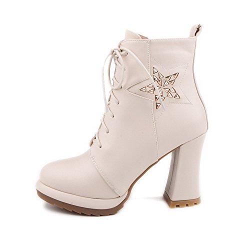 Allhqfashion Dames Hoge Hakken Lage Top Solide Rits Laarzen Met Metalen Stuk, Beige, 41