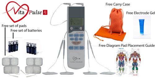 VitaPulse Rx Yoga - Electronic Pulse Massager Gift Set - EMS Electronic Muscle Stimulator Device for Muscle Soreness and Muscle Rehabilitation - TENS Transcutaneous Electrical Nerve Stimulation Unit for Pain Relief and Rehabilitation - GIFT SET Includes 4 additional pads, 4 extra batteries, discrete carry bag, Spectra Electrode Gel for increased connectivity, Muscle Anatomy Chart with Pad Placement Guide. The BEST Portable, Lightweight Electronic Massager For Pain Management