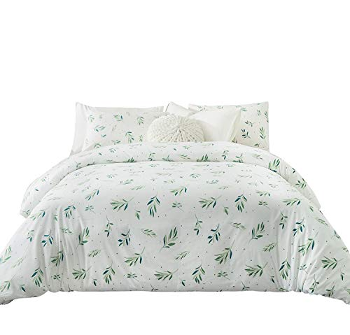SUSYBAO 3 Pieces Duvet Cover Set 100% Natural Cotton Queen Size White and Green Grass Dots Garden Style Bedding with Zipper Ties 1 Duvet Cover 2 Pillowcases Luxury Quality Soft -