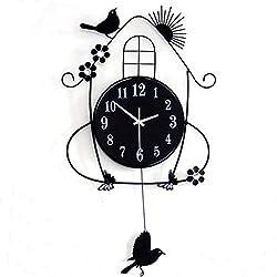 Labomba Professional for Bird Wall Clocks, Creative Living Room Wall Clocks Pastoral Bird Clock Black - Black Bird Clock, Metal Bird Clock, Bird Pendulum Wall Clock, Abstract Metal Clocks