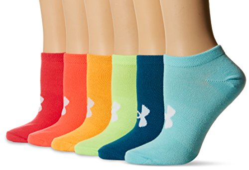 Under Armour Women's Essential No Show Socks (6 Pack), Color/Assorted, Medium