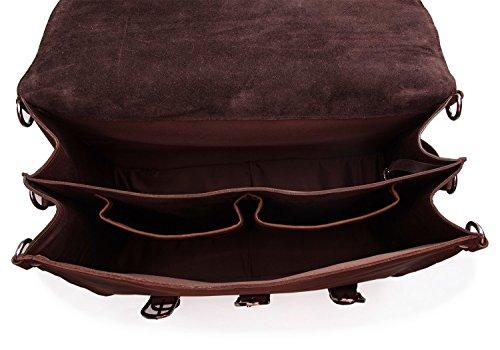 Polare Thick Full Grain Leather Shoulder Briefcase Satchel Messenger Bag For Men(Dark Brown) by Polare (Image #4)
