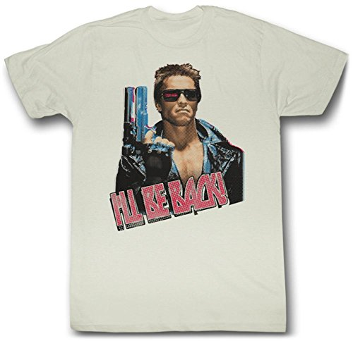 Terminator Shirt I'll Be Back Adult Dirty White Tee T-shirt (XL)