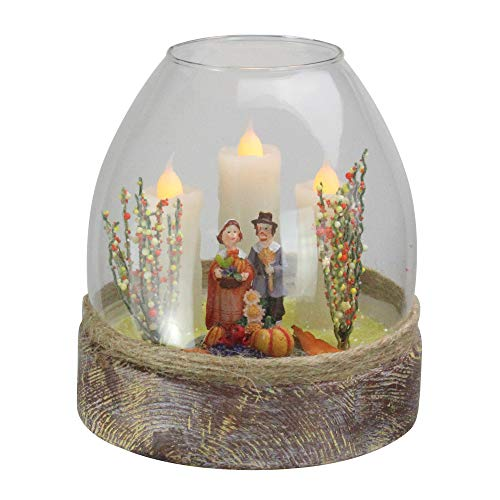 """Northlight 5"""" Battery Operated Clear Glass Pilgrim Figurine Flickering Candle Thanksgiving Jar"""
