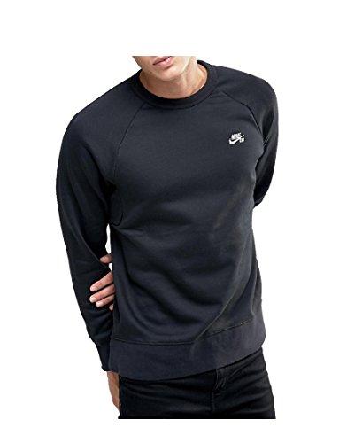 NIKE Mens SB Icon Fleece Crew Sweatshirt Black/White 800153-010 Size (Icon Crew Sweatshirt)