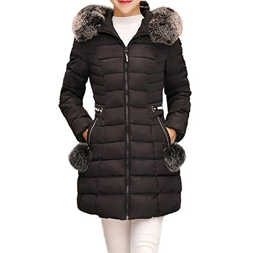 vermers Womens Hooded Parka Outwear Winter Warm Coat Ladies Long Thick Fur Collar Cotton Slim Jacket Outerwear(US:6/L, Black) (Coat Fur Collar Notched)