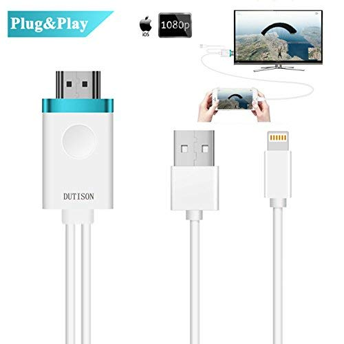 DUTISON IPhone to TV Cable, Iphone to HDMI Adapter Digital AV to 1080P HDTV Cord Converter Compatible for iPhone X/8/8+/7/7+/6/6+/5S HDMI Connector Dongle for iPad iPod Pro Air Mini Plug and Play- 6ft ()
