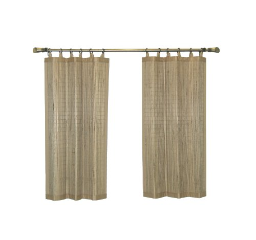 Bamboo Ring Top Curtain BRP05 2-Piece Ring Top Tier Set, 48 by 36-Inch, Driftwood (Bamboo Window Panels)