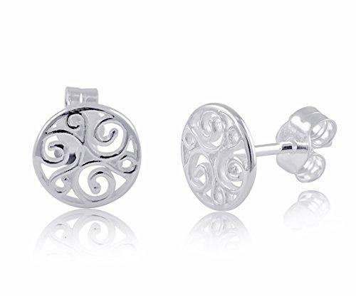 (Sterling Silver Celtic Triskelion Stud Earrings - 8mm)
