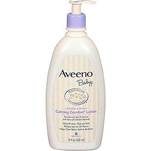 Aveeno Baby Calming Comfort Lotion, Lavender and Vanilla, 18 Fluid Ounce (Pack of 2)