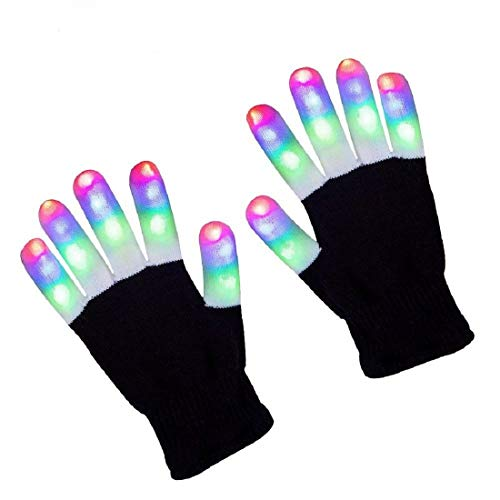 Rednow LED Gloves Light Up Rave Glow Gloves 3 Colors 6 Modes Flashing Halloween Costume Clubbing Birthday Party Novelty Light Up -