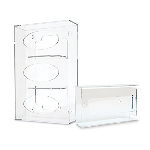 Triple Side-Loading Acryclic Glove Dispenser Bundle with Tissue Box Holder