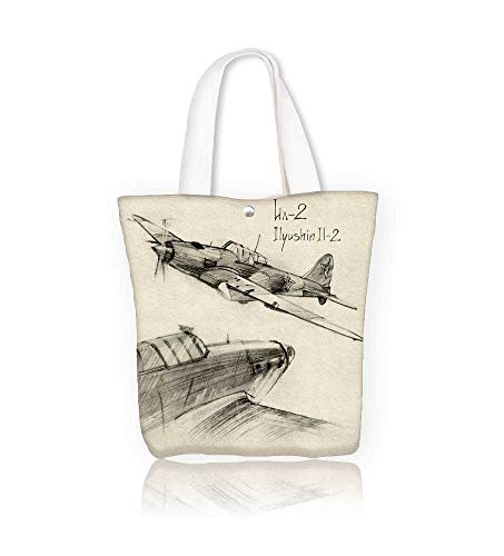 Women's Canvas Tote Handbags Airplane Hand Drawn Series Of Soviet MilitaryEnginery Jets Flights World War Aviation Sketch Black Casual Top Handle Bag Crossbody Shoulder Bag Purse W15xH14xD4.7 INCH