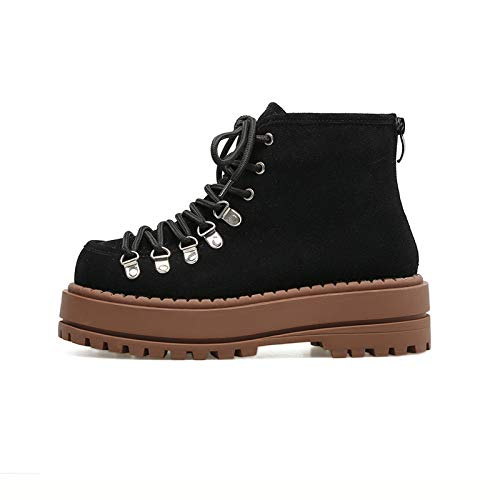 à Frosted Black Bottines Plat Courtes Femme pour Talon Martin wqPTFH
