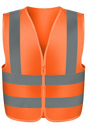 Neiko 53944A High Visibility Safety Vest with Mesh Fabric, Medium, Neon Orange
