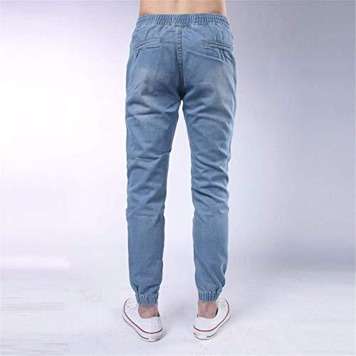 Inverno Stretta Jeans Lunghi Ragazzi Coulisse Moda Comfy Autunno Classiche Casual 2 Pantaloni Polsini Con Da E Vintage Pant Uomo Denim wfIOpf